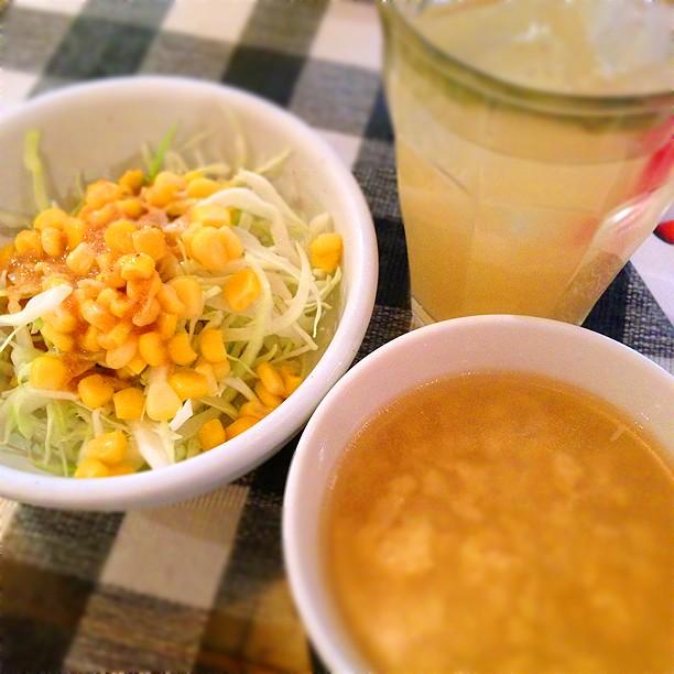 キャンティデュエ ランチセットのサラダとスープ
