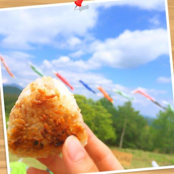 陣馬山の頂上でおばあちゃんの作った焼きおにぎり(*^o^*)天気が良い〜♩