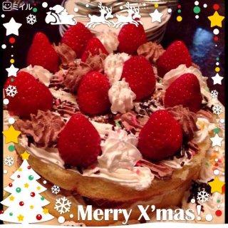 カミサンと息子が作ったという手作りケーキでメリークリスマスイブ!